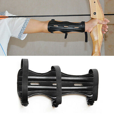 Shooting Bow Arrow Archery Arm Guard Armband 3 Strap Leather Protective Gear