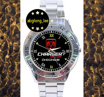 NEW Dodge Charger Hellcat CUSTOM CHROME MEN'S FINISH WATCH WRISTWATCHES