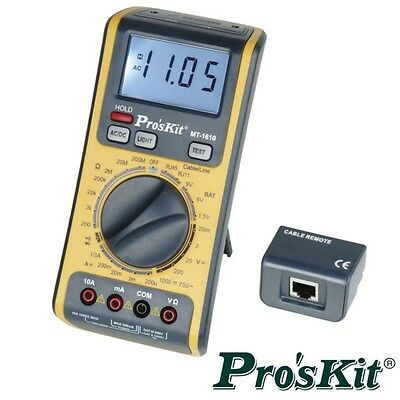 3 in 1 Digital Multi Meter DMM RJ11 RJ45 network tester ProsKit MT-1610  Taiwan