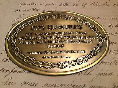 Rare brass sign HMS HERCULES Absolutely delightful and very collectable