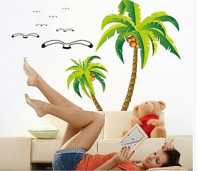 Hot Coconut palm tree Home bedroom Decor Removable Wall Sticker Decal Decoration