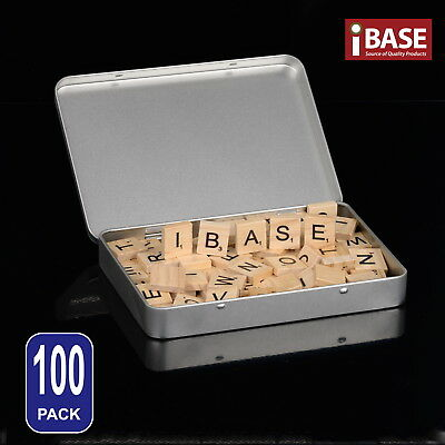 100 Wooden Alphabet Scrabble Tiles Box Scrapbooking Handcraft Letter Complete
