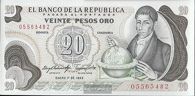 colombia Pick-number: 409d (1983) uncirculated 1983 20 Pesos oro