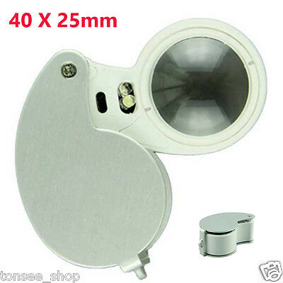 MINI Tragbar 40 X 25mm Glas Linse Juwelie Lupe Magnifier Mit hellen LED Light DE