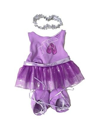 "Purple ballerina with tutu outfit teddy bear clothes fits 15"" Build a Bear"