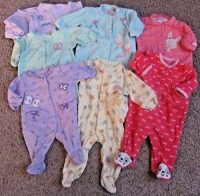Baby Girls Carters 0- 6 Months Footed Sleepers Pajama Lot Easter