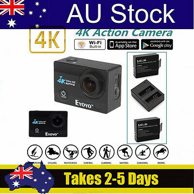 """SJ9000 4K HD WiFi Sports Action Cam DVR 2.0"""" LCD Screen+Dual Charger Battery Kit"""
