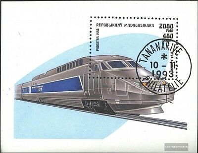 Madagascar block238 (complete.issue.) fine used / cancelled 1993 Locomotives