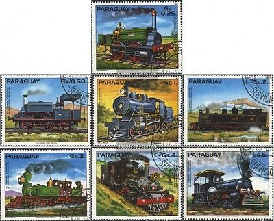 Paraguay 3579-3585 (complete.issue.) fine used / cancelled 1983 Locomotives