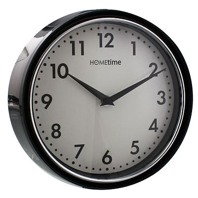 Hometime Deep Case Black 21cm Wall Clock Home / Office / Kitchen / Dining Room