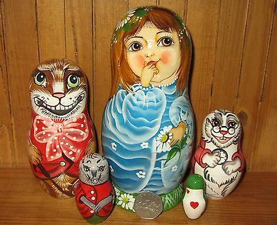Russian 5 Nesting dolls Fairy Tale ALICE IN WONDERLAND CHESHIRE CAT WHITE RABBIT