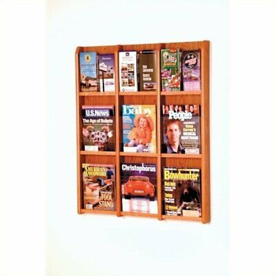 Wooden Mallet 9 Magazine and 18 Brochure Oak and Acrylic Wall Display Medium Oak