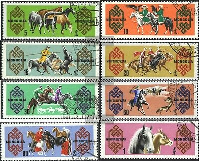Mongolia 385-392 (complete.issue.) fine used / cancelled 1965 Horse
