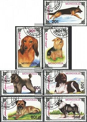 Mongolia 2320-2326 (complete.issue.) fine used / cancelled 1991 Dogs