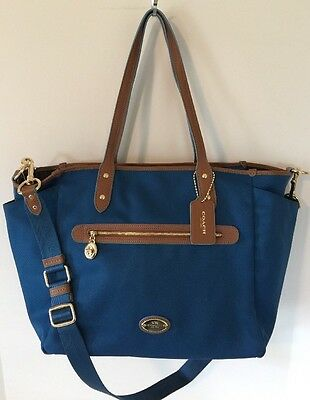 NWT Coach $395 Sawyer Multifunction Baby Diaper Bag F37758 Bright Mineral Blue