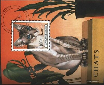 Togo block407 (complete.issue.) fine used / cancelled 1997 Cat Breeds