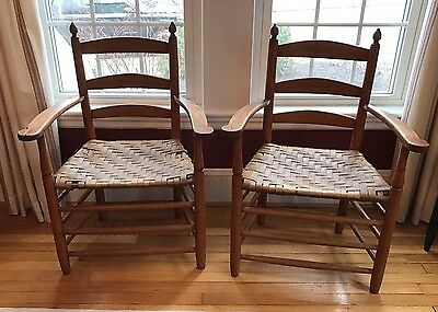 Pair Of Antique Ladderback Arm Chairs