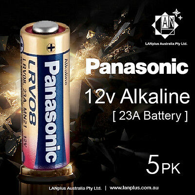 Genuine 5 x Panasonic A23 Alkaline Remote Batteries 12V LRV08 MN21 23A battery
