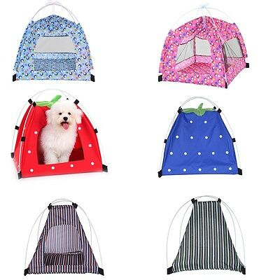 Small Pet Cat Dog Portable Tent Bed House Mesh Net Kennel Puppy Cage Carrier New