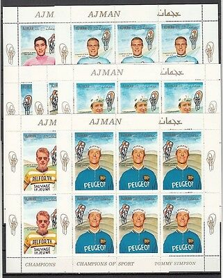 Ajman, Mi cat. 354-360 A. Cycling issue as sheets of 6 sets.