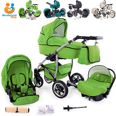 3in1 Baby Pram Newborn Car Seat Carrycot Pushchair Travel System Buggy Stroller