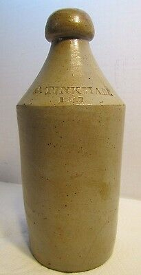Antique 1847 O. TINKHAM Salt-Glazed Pottery Stoneware 19c Root Beer Bottle