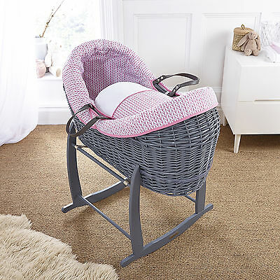 4Baby Pink Seedling Grey Wicker Crossover Noah Pod Moses Basket & Rocking Stand