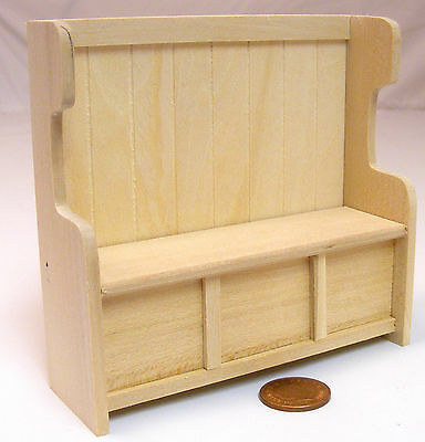 1:12 Scale Natural Finish Settle Pew Tumdee Dolls House Pub Church Accessory