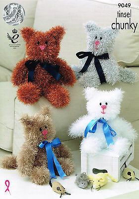 Crochet Pattern King Cole 9049 DK Tinsel Cat Collection