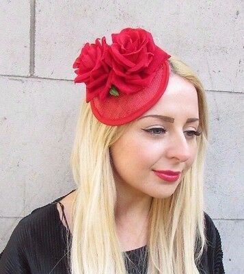 Red Rose Flower Fascinator Races Headpiece Hair Clip 1950s Rockabilly Vtg 2365