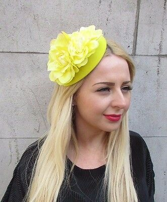 Yellow Dahlia Flower Pillbox Hat Fascinator Races Vintage Rose Hair Clip 2367