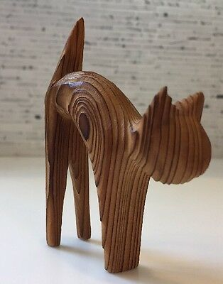 Vintage Danish Modern Cryptomeria CAT Wood Sculpture MID CENTURY Hand Carved