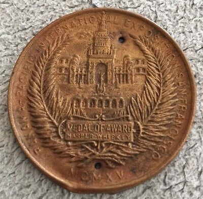 RARE 1915 Panama Pacific Exposition Medal Of Award Issued to I.W. HARPER WHISKEY