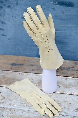VINTAGE Cream Leather Suede Gloves with Contrast Stitching Size 6 3/4
