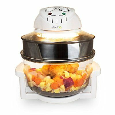 electriQ 17L Premium Halogen Oven Cooker With Extender Ring - Full Accessories