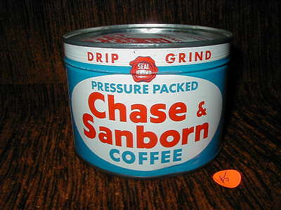Chase & Sanborn Drip Grind 1 lb. Coffee Tin Can Unopened Full WITH Key