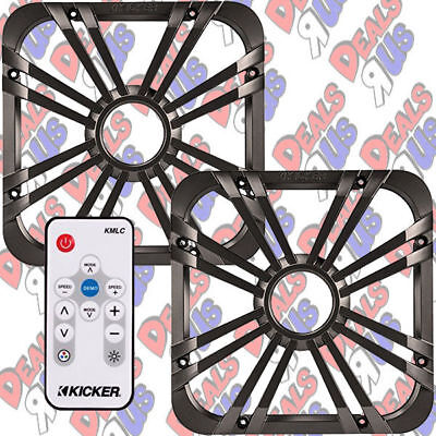 """2 Kicker 11L710GLC 10"""" Square Grill W/ LED's for Solo-Baric Subwoofer and Remote"""
