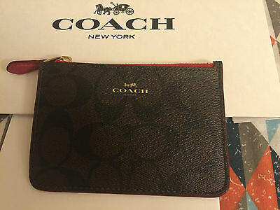 Coach Women's Leather Red/black/brown Coin Purse Key Chain Wallet Nwt!