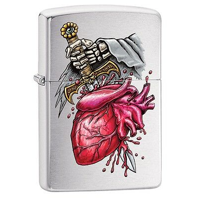 Zippo 29406, Dagger In Heart, Brushed Chrome Finish Lighter, Full Size