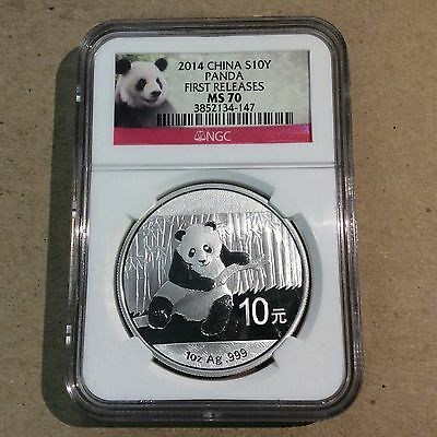 2014 China Silver Panda FIRST RELEASES MS70 NGC