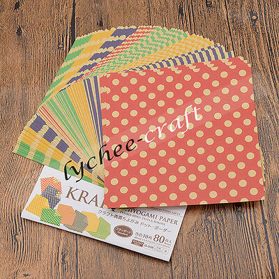 80 Sheets Double Side Paper Origami Stripes Dots DIY Crafts 15x15cm Party Decor