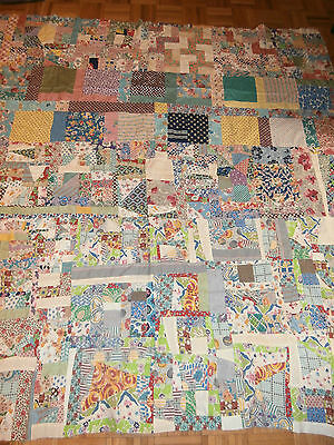 "Antique Crazy Patchwork pattern quilt top 78"" x 81"" Great early fabrics"
