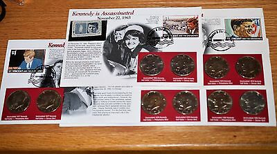 Ten Kennedy Half Dollars with Display Cards - P & D Sets - 77, 78, 92(2) & 95