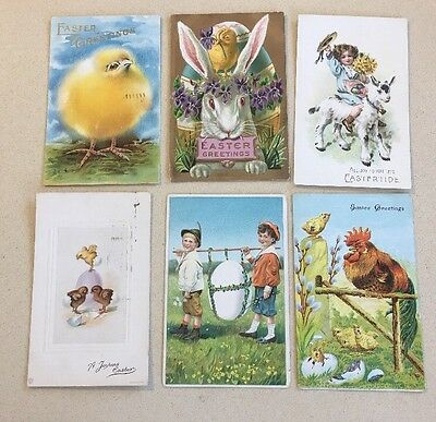 LOT 6 Vintage EASTER GREETING Postcards BEAUTIFUL RABBITS CHICKS HEN GREETINGS