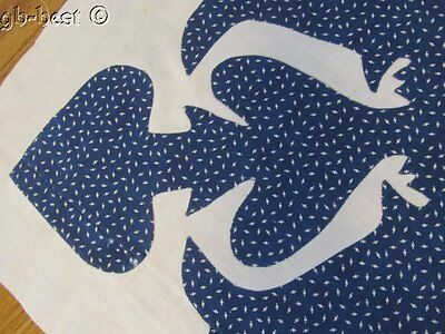"Antique c 1880s Indigo Blue ALBUM Applique Quilt Top pc 30"" x 27"""