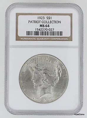 1923 Peace Silver Dollar $1 NGC MS64 Patriot Collection