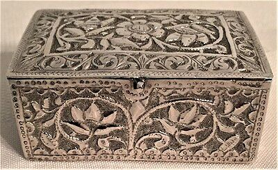 Ornate Hand Chased Sterling Silver Trinket Ring Pill Box Floral Geometric Design