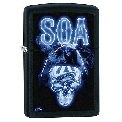 Zippo 29317, Son of Anarchy, Blue Reaper, Black Matte Finish Lighter, Full Size