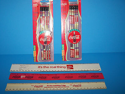 Vintage Coca Cola Collectable  Set Of 3 Rulers & 2 Pack Of Pencils Nib