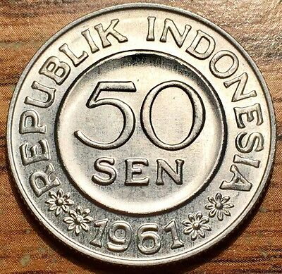 1961 Republic of Indonesia 50 Sen Aluminum Coin Brilliant UNC+